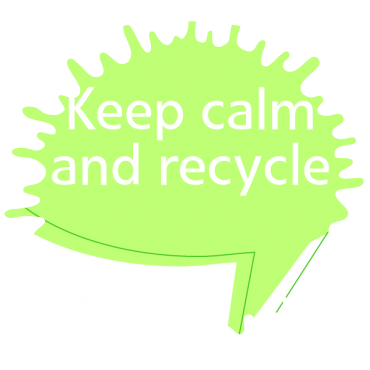 Eine grüne Sprechblase mit dem Text: Keep calm and recycle